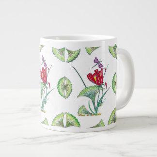 Jumbo Topical Ginkgo Floral White Mug