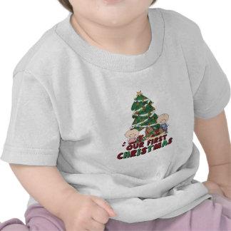 Jumeaux garçon et Noël de fille premier T-shirts