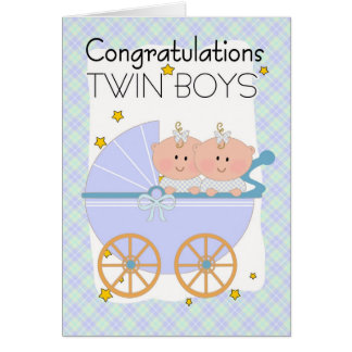 Jumeaux - garçons jumeaux de félicitations dans un carte de vœux