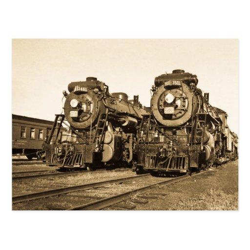 """""""Jumelle"""" les locomotives 3461 et 3501 de chemin d Carte Postale"""
