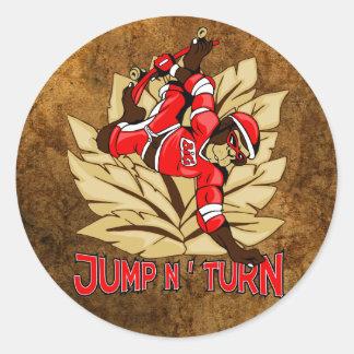 Jump and Turn Skateboard Monkey Round Sticker