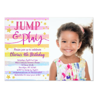 Jump Birthday Invitation for Girls Bounce Party