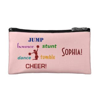 Jump, Bounce, Stunt Cheerleader Small Cosmetic Bag