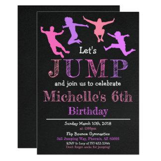 Jump Gymnastics Flip Chalkboard Girl Birthday Card