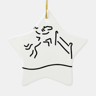 jump-ride horse military ceramic star ornament