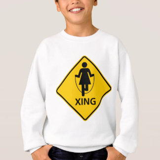 Jump Rope Crossing Highway Sign Sweatshirt
