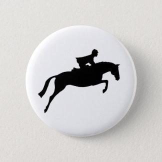 Jumper Horse Silhouette 2 Inch Round Button