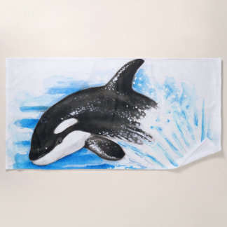 Jumping Baby Orca Whale Beach Towel