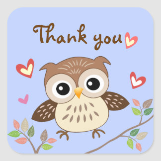 Jumping Baby Owl Thank you Stickers