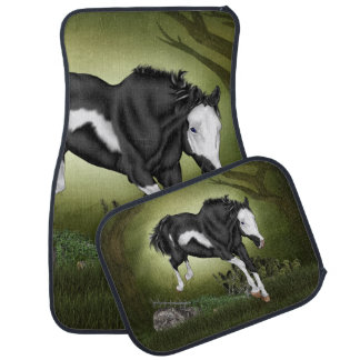 Jumping Black and White Overo Paint Horse Car Mat