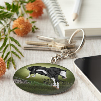 Jumping Black and White Overo Paint Horse Keychain