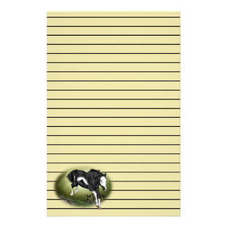 Jumping Black and White Overo Paint Horse Stationery