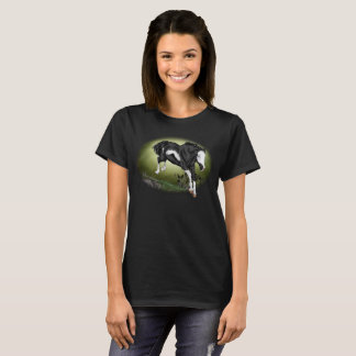Jumping Black and White Overo Paint Horse T-Shirt