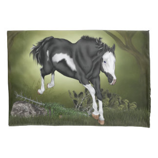 Jumping Black and White Paint Horse Print Pillowcase