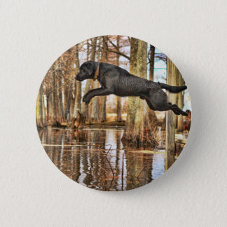 Jumping Black Retriever 2 Inch Round Button