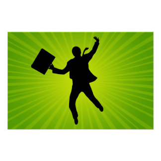 Jumping Business Man With A Starburst Background Poster