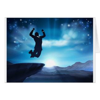 Jumping Businessman Success Concept Card