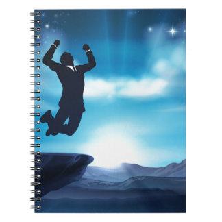 Jumping Businessman Success Concept Spiral Note Book