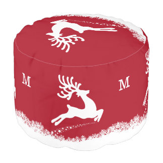 Jumping Deer custom monogram poufs