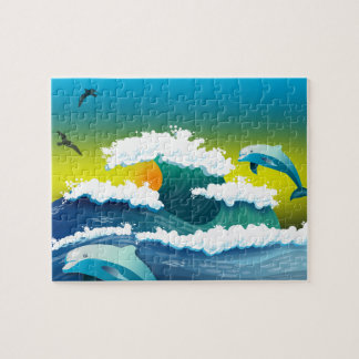 Jumping dolphin jigsaw puzzle