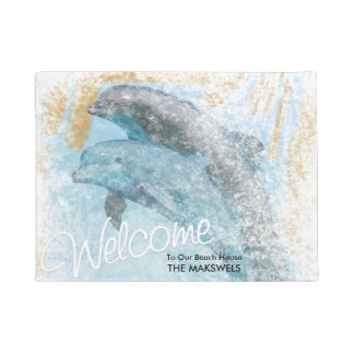Jumping Dolphins Beach House Welcome Mat