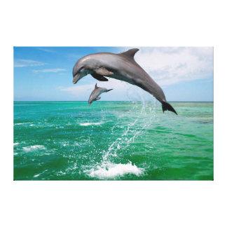 Jumping Dolphins Custom Canvas Wall Art