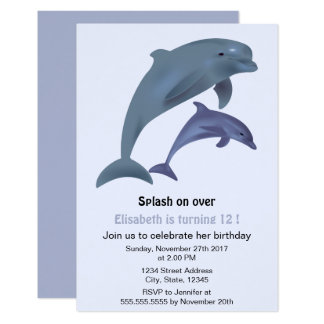 Jumping dolphins illustration birthday party card