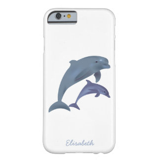 Jumping dolphins illustration name barely there iPhone 6 case