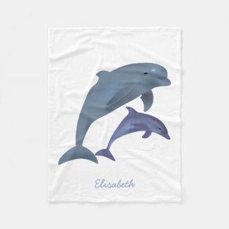 Jumping dolphins illustration name fleece blanket