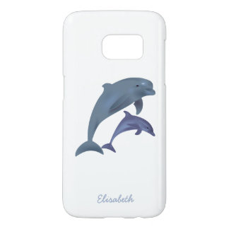 Jumping dolphins illustration name samsung galaxy s7 case