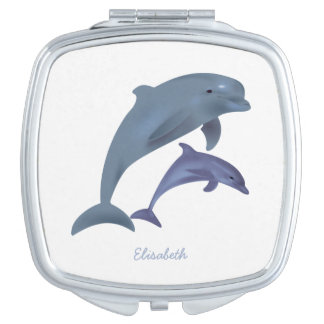 Jumping dolphins illustration name travel mirrors