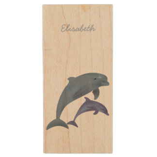 Jumping dolphins illustration name wood USB 2.0 flash drive