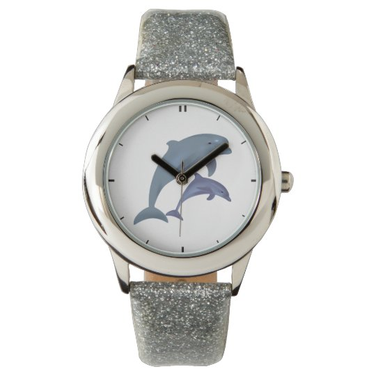Jumping dolphins illustration wrist watch