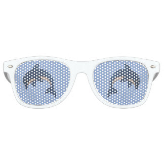 Jumping Fun Glittering blue dolphin white sparkles Retro Sunglasses