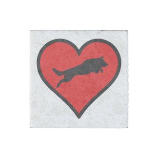 Jumping German Shepherd Heart Love Dogs Silhouette Stone Magnets