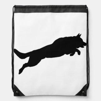 Jumping German Shepherd Silhouette Love Dogs Drawstring Bag