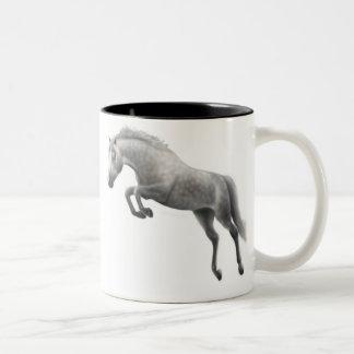 Jumping Grey Horse Mug