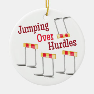 Jumping Hurdles Ceramic Ornament