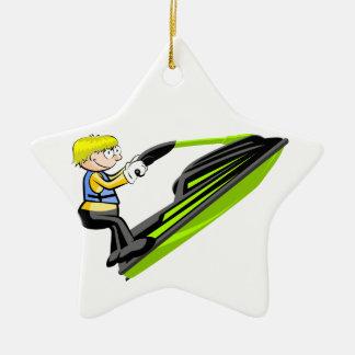 Jumping in jet ski ceramic ornament