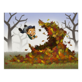 """Jumping into Leaves"" Postcard"