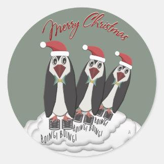 Jumping Jiminy Christmas Pogo Penguins Classic Round Sticker