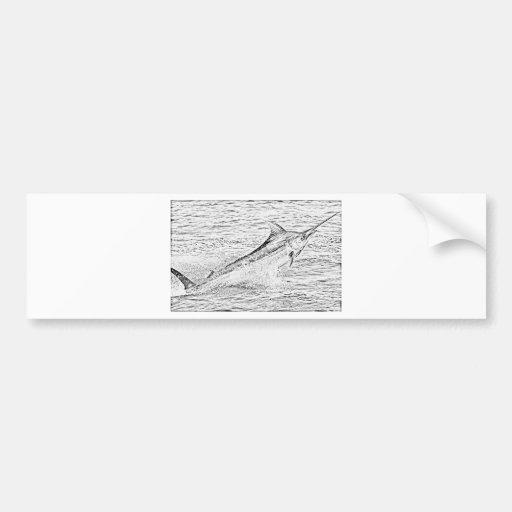 Jumping marlin bumper stickers