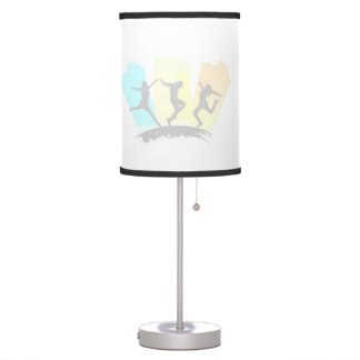 Jumping people silhouettes colorful - desk lamp