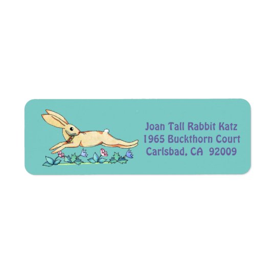 Jumping Rabbit label for Joan Return Address Label