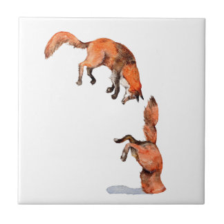 Jumping Red Fox Ceramic Tile