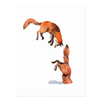 Jumping Red Fox Postcard
