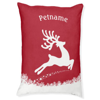 Jumping Reindeer custom name dog beds