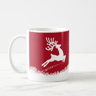 Jumping Reindeer custom name mugs