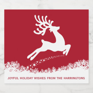 Jumping Reindeer custom text Christmas labels