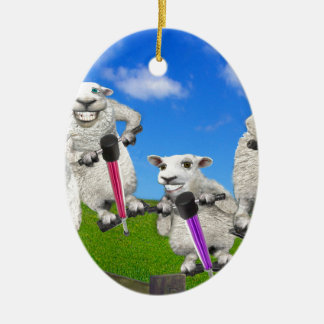 Jumping Sheep Ceramic Ornament